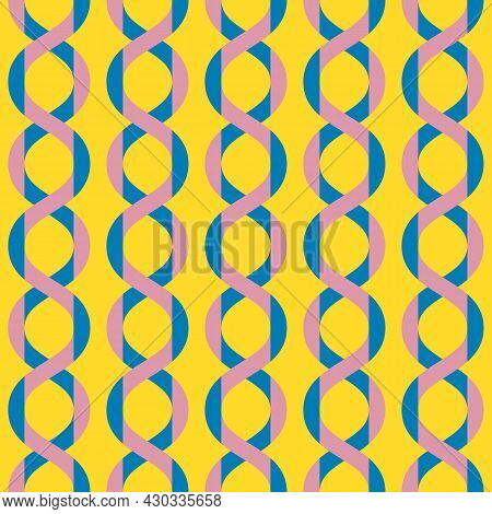 Vector Abstract Geometric Seamless Pattern With Wavy Lines, Curved Shapes, Chains. Simple Texture In