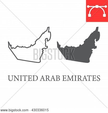 Map Of United Arab Emirates Line And Glyph Icon, Country And Travel, Uae Map Vector Icon, Vector Gra