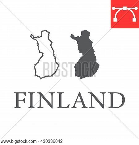 Map Of Finland Line And Glyph Icon, Country And Travel, Finland Map Vector Icon, Vector Graphics, Ed