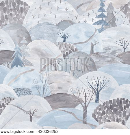 A repeating winter landscape, hills, drifts, trail and trees. Gouache illustration. Winter seamless pattern. Pastel colors.