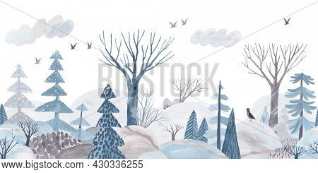 Winter forest. Gouache landscape. Children's horizontal poster. Horizontal border. Seamless pattern.