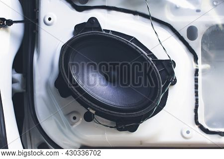 6x8 Inch Speaker On Car Door Panel Of The Car Sound System
