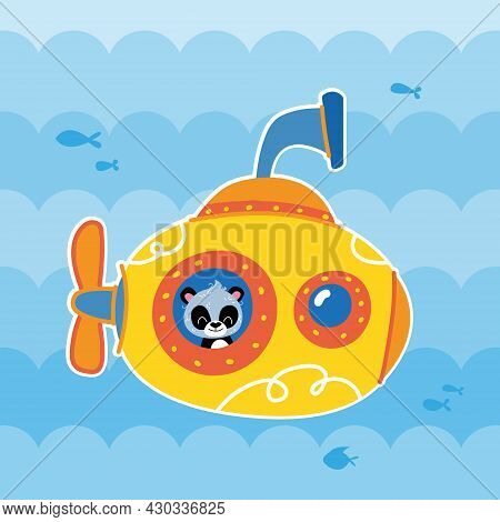 Yellow Cartoon Submarine On The Background Of The Blue Sea, In Which The Panda Bear Looks Out The Wi