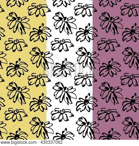 Floral Seamless Pattern. Ink Brush Stroke Design. Free Hand Painted Flowers, Black Grunge Line Conto