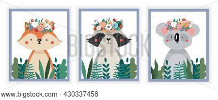 Picture With Animals. Squirrel, Raccoon And Koala Stand Among Flowers. Posters And Stickers For Chil
