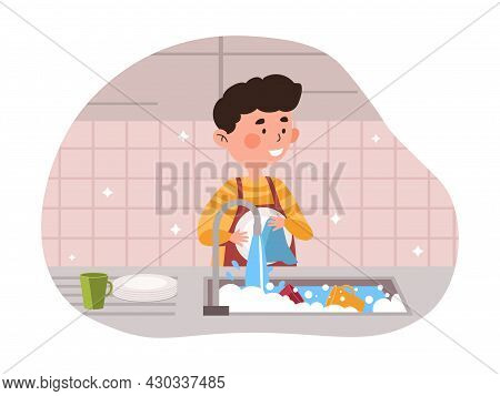 Boy Wash Dishes. Child Helps Mom To Cope With Household Chores. Son Cleans Up For Family After Delic
