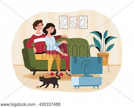 Couple Watching Tv. Man And Girl Resting On Couch Together. Family Spends Time Together After Workin