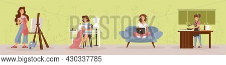 Girls Hobby. Young Women At Home Enjoying Their Free Time And Doing Hobbies. Vector Illustration.