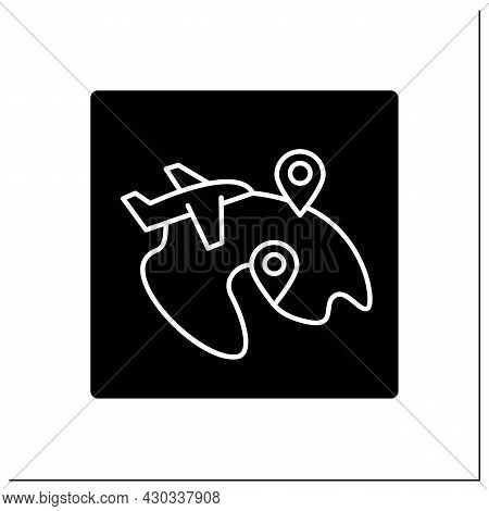 Domestic Flight Glyph Icon. Takes Place Entirely In One Country. Pointer.local Flights. Airport Term