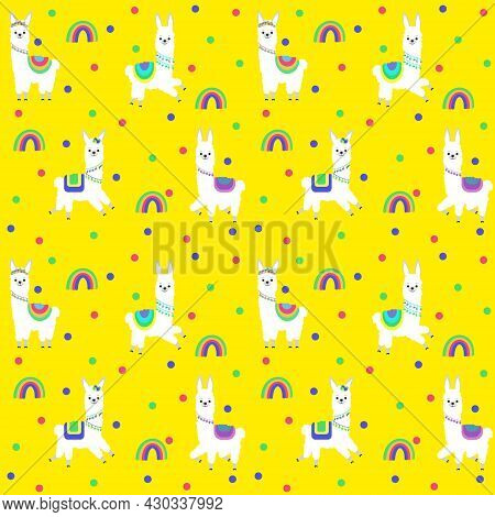 Pattern With The Image Of Different Lamas In Colored Costumes And A Festive Decoration. Vector