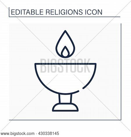 Unitarianism Line Icon.christian Movement Believes That God Is One Entity, As Opposed To Trinity.fla