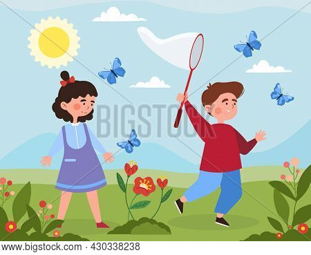 Children Catch Butterflies Concept. Little Boy And Girl With Net Walk Among Flowers And Run After In