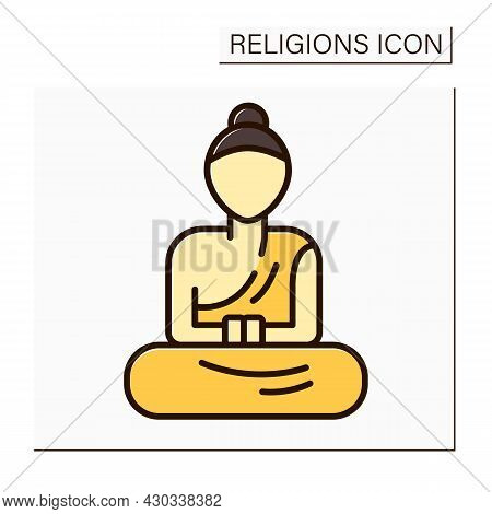 Buddhism Color Icon. Buddha Statues In Monasteries. Style Of Sculpture For Buddhism Beliefs. Religio