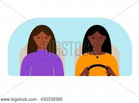 Vector Illustration Of Two Women In The Car Behind The Windshield.