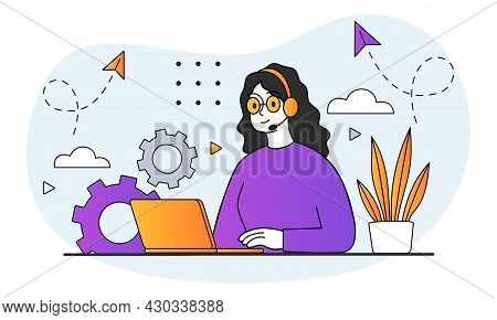 Working On Laptop Concept. Woman With Headphones Sitting At Her Desk And Taking Calls From Users. Re