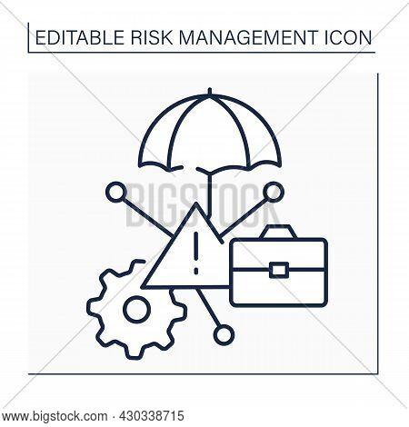 Risk Management Services Line Icon. Provides Unique Insurance Needs. Identifying Business Interrupti