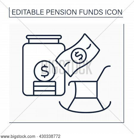Pension Saving Line Icon. Saving Money Into Glass Jar. Accumulation Earnings.pension Fund Concept. I