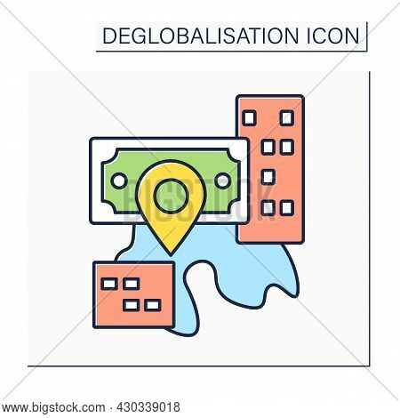 Reverse Globalization Color Icon. Process Of Diminishing Interdependence And Integration. Change In