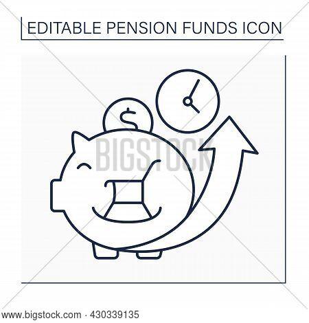 Accumulation Line Icon. Cumulative Money During Life. Saving Money For Better Retirement. Piggy Bank
