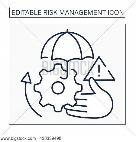 Risk Transfer Line Icon. Potential Loss Shifted To Third Party. Takes Responsibility For Mitigating