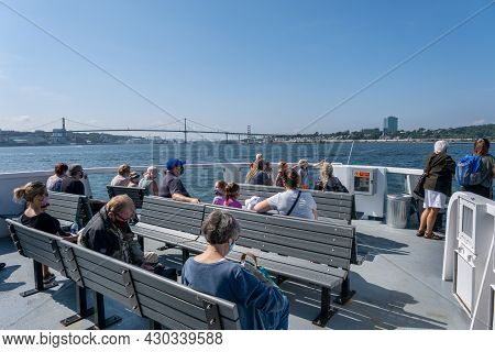 Halifax, Canada - 10 August 2021: Passengers On A Halifax Transit Ferry Going To Dartmouth