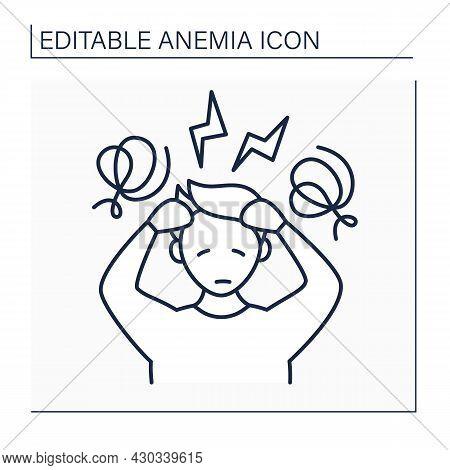 Anemia Line Icon. Disease Symptoms.extreme Fatigue, Weakness. Dizzy, Headache. Health Protection Con