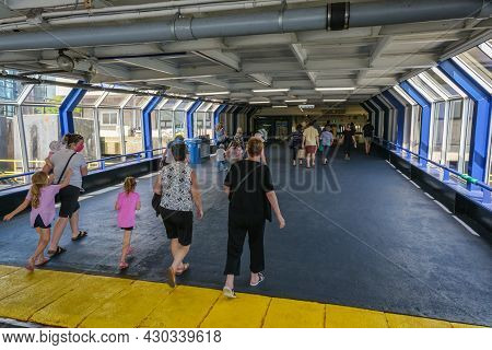 Dartmouth, Canada - 10 August 2021: Passengers Going Out Of The Halifax Transit Ferry