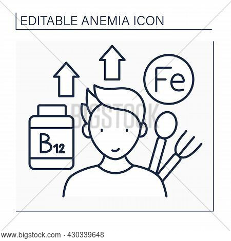 Anemia Prevention Line Icon. Iron-rich Diet And Vitamin B12. Healthy Food. Health Protection. Health