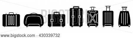 Baggage Icon. Black Icons Of Baggage. Vector Illustration. Travel Concept. Set Of Baggage Icons