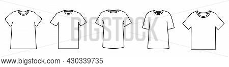 T-shirt Icon. Blank T-shirt Template. Black Silhouette Of A T-shirt. Vector Illustration. Set Of T-s