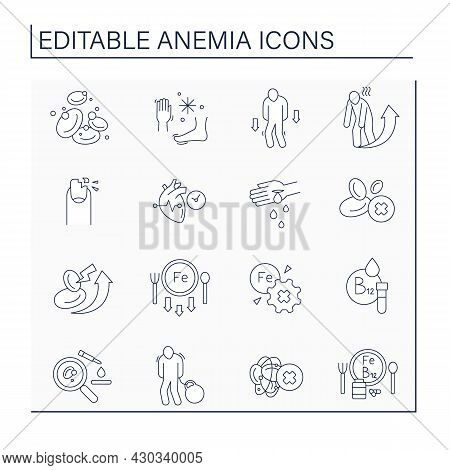 Anemia Line Icons Set. Disease Symptoms. Testing, Prevention Of Sicks. Health Protection Concept. Is