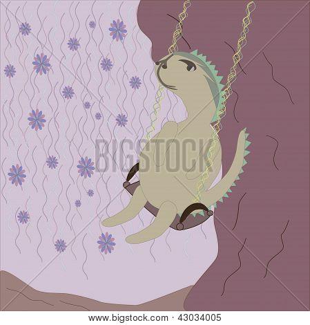 Cute dinosaur swinging on the tree