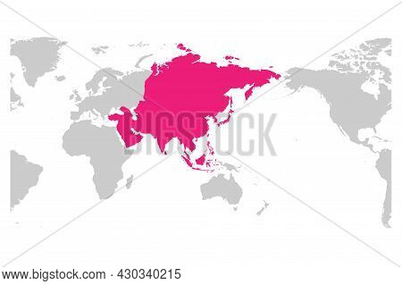 Asia Continent Pink Marked In Grey Silhouette Of World Map. Centered On Asia. Simple Flat Vector Ill