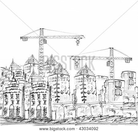 Sketching Of Modern Building And Construction