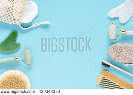 Tools For Daily Care. Reusable Discs, Cream Jar, Bamboo Toothbrush, Fluffy Sleep Mask, Roller Quartz
