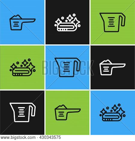 Set Line Washing Powder, Measuring Cup And Towel Stack Icon. Vector