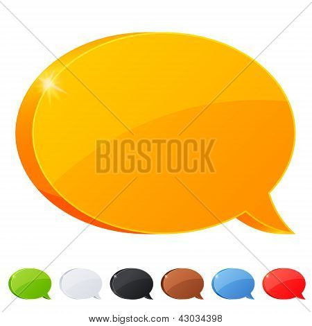 Set of 7 speech bubble symbol in different colors