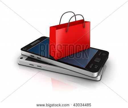 Mobile phone with shopping bag. Online shopping concept.