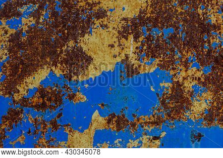 Flat Texture Of Rusted Steel Sheet With Two Peeled Off Layers Of Paint - Yellow And Blue