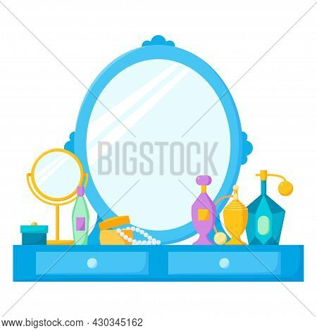 Dressing Table With Mirror, Female Boudoir With Cosmetics, Perfume And Jewellery Box. Vector Illustr