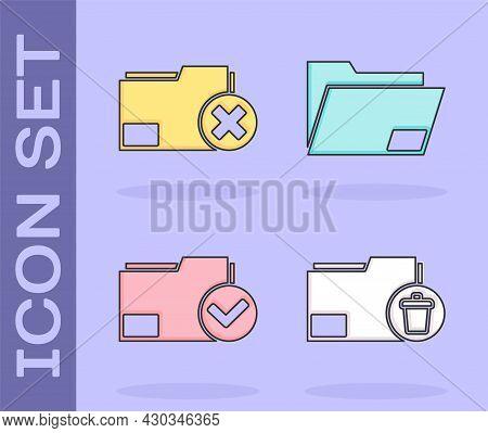 Set Delete Folder, Delete Folder, Document Folder And Check Mark And Document Folder Icon. Vector
