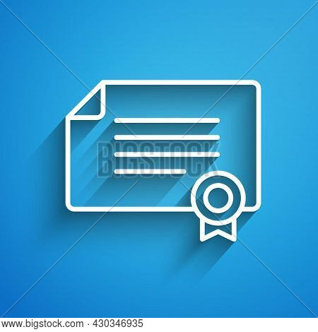 White Line Certificate Template Icon Isolated On Blue Background. Achievement, Award, Degree, Grant,