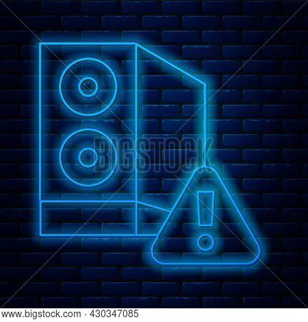 Glowing Neon Line Case Of Computer With Exclamation Mark Icon Isolated On Brick Wall Background. Com