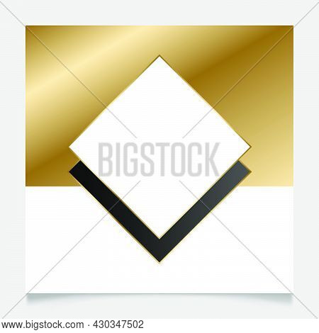 Elegant Golden And White Shiny Glowing Geometric Frame. Gold Metal Luxury Blank Border. Vector Backg