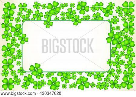 Saint Patrick's Day Vector Frame With Small Green Trefoil Clover Shamrock Leaves. Irish Festival Cel