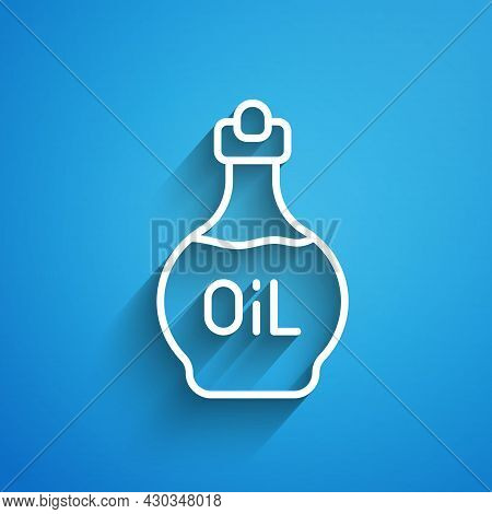 White Line Essential Oil Bottle Icon Isolated On Blue Background. Organic Aromatherapy Essence. Skin