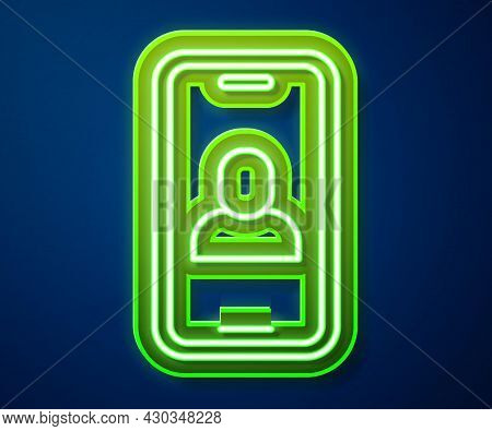Glowing Neon Line Video Chat Conference Icon Isolated On Blue Background. Online Meeting Work Form H