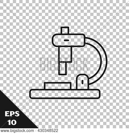 Black Line Microscope Icon Isolated On Transparent Background. Chemistry, Pharmaceutical Instrument,