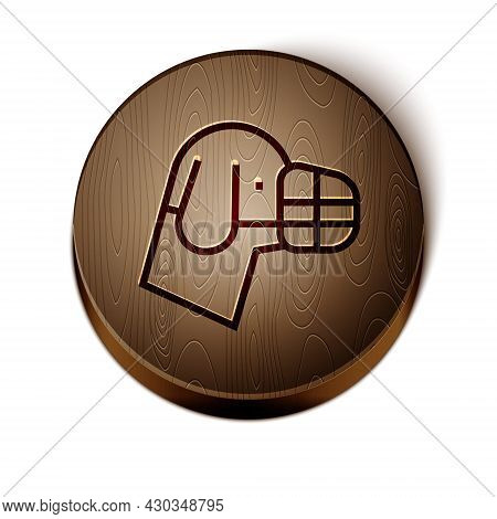Brown Line Dog In Muzzle Icon Isolated On White Background. Accessory For Dog. Wooden Circle Button.