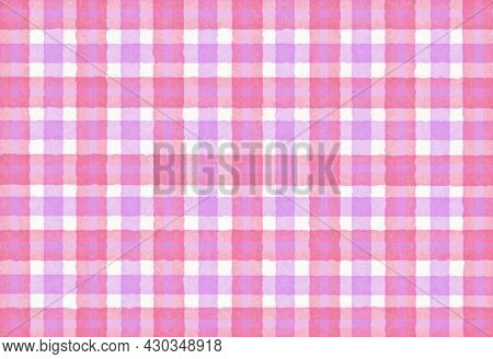 Pink Lilac Checkered Old Vintage Background With Blur, Gradient And Texture. Classic Checkered Geome